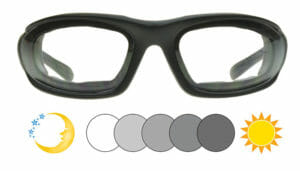 Bikershades Eclipse Photochromic Motorcycle Sunglasses Clear to Grey
