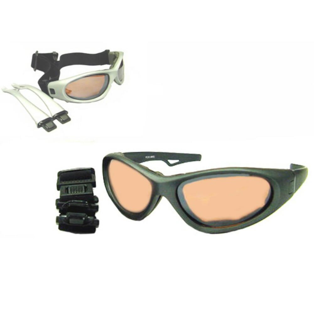 Downforce HD Amber Copper Lensmotorcycle sunglasses with interchangeable strap and sunglass legs at Bikershades.com