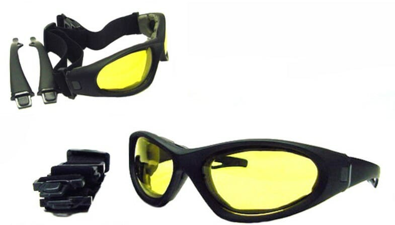 Downforce motorcycle yellow lens night ridingsunglasses with interchangeable strap and sunglass legs at Bikershades.com