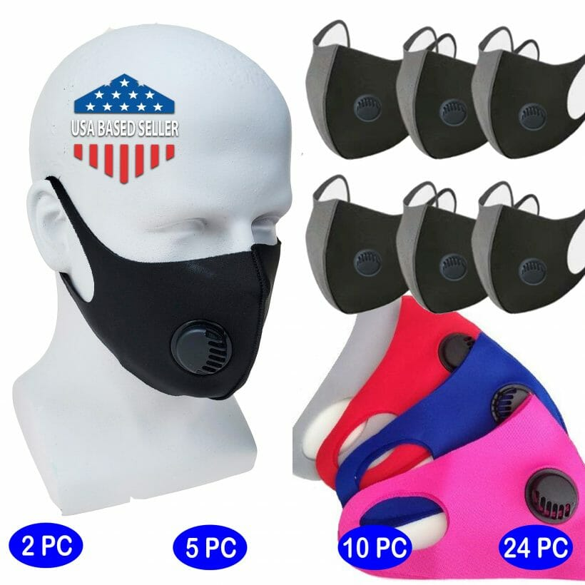 Face Masks Red Blue Pink Gray Black