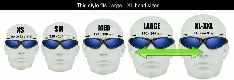 Bikeshades Motorcycle Glasses Sizing Chart Large Xlarge Heads