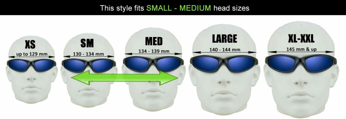 Bikershades head size chart for motorcycle sunglasses.