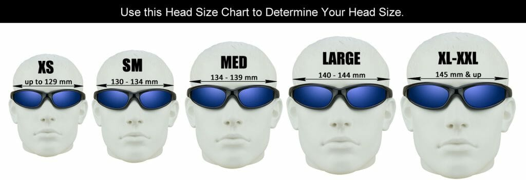 Bikershades head size motorcycle sunglass fitting chart.  Perfect for prescription aand regular sunglasses.